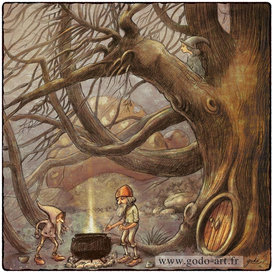 illustration lutins près d'un vieil arbre devannt un chaudron magique