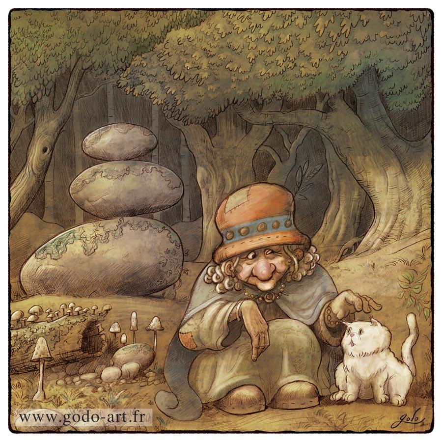 illustration sorcière et chat. godo