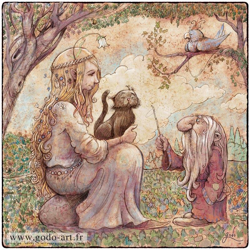 illustration de fée, chat et gnome