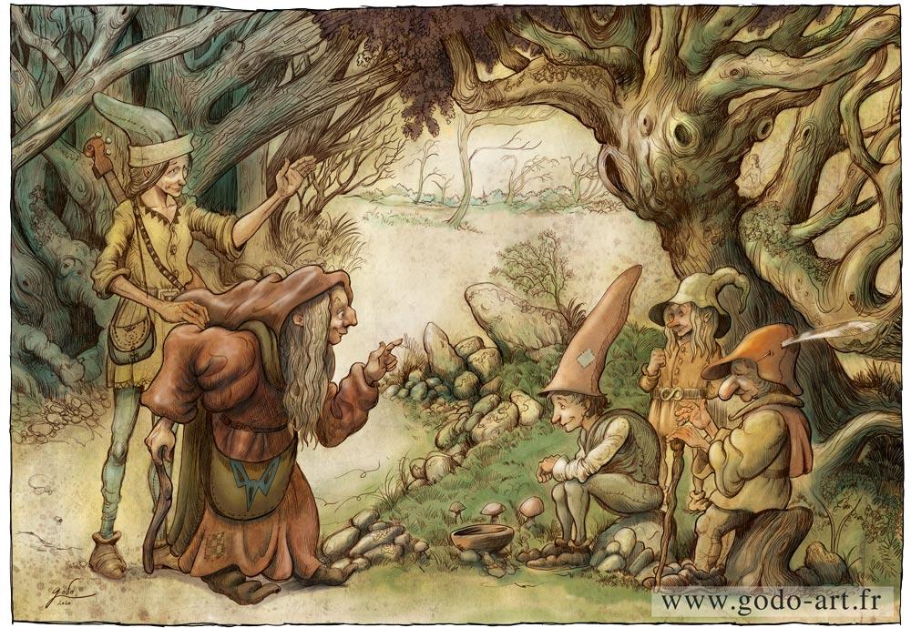 illustration vieille sorcière gnomes et ménestrel