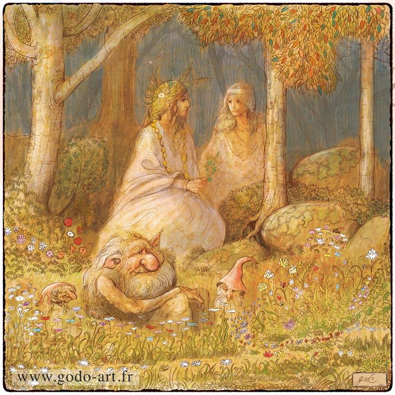 illustration de fées et de créatures dans la nature