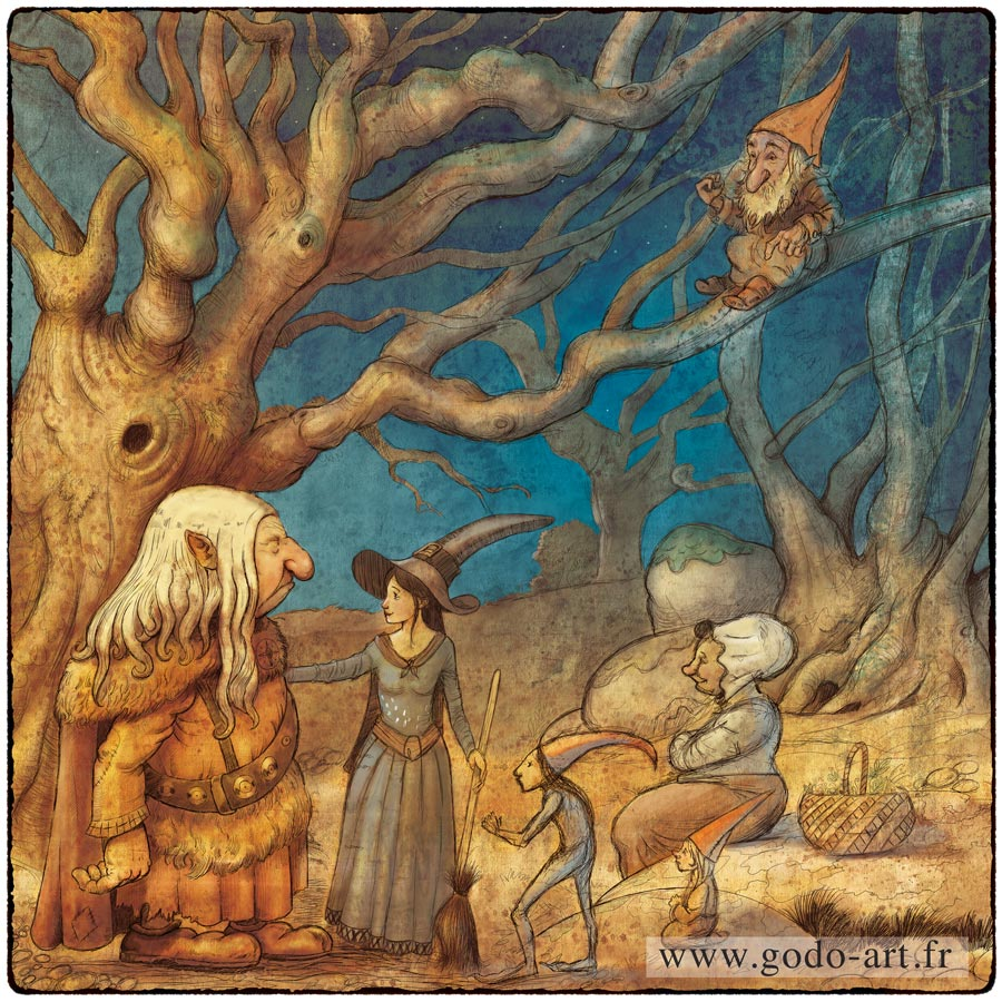 illustration de troll sorcier, lutin elfe et magicienne godo