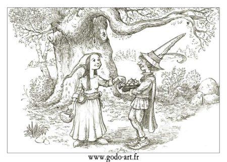dessin de lutin et lutines après la cueillette, illustration godo