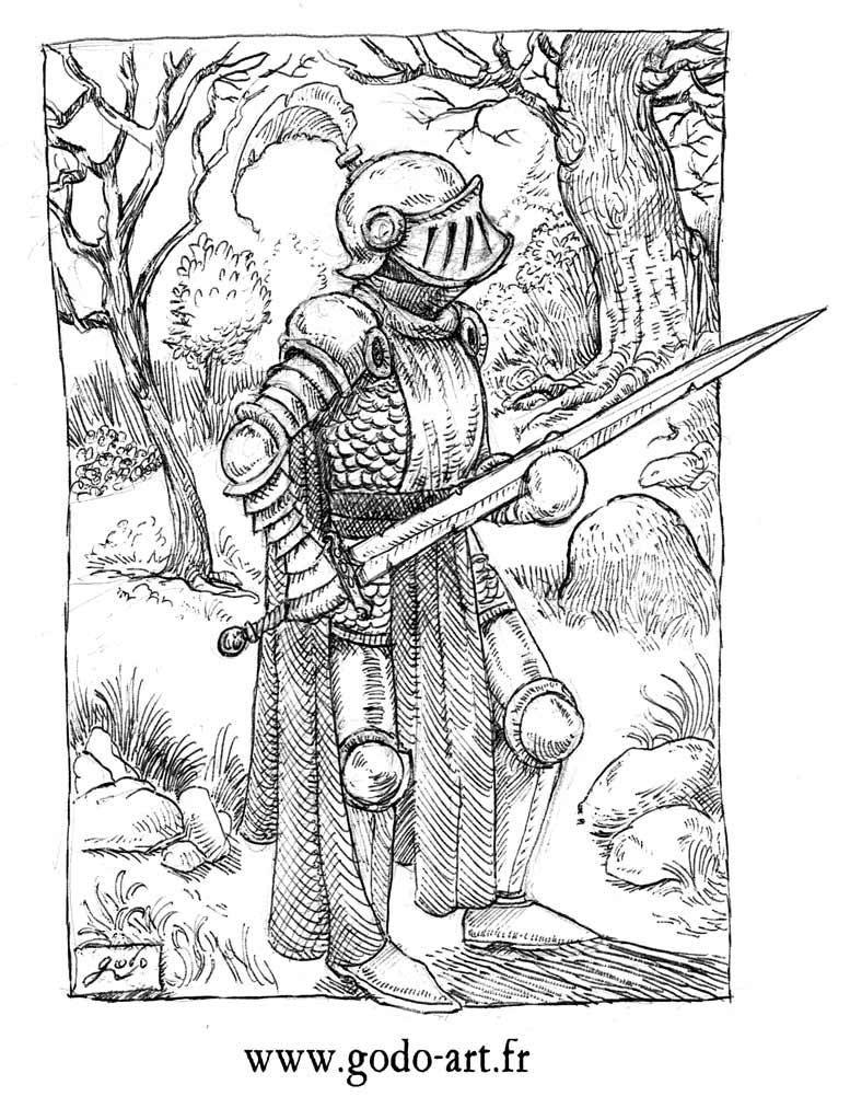 dessin de chevalier à l'encre, ilustration godo
