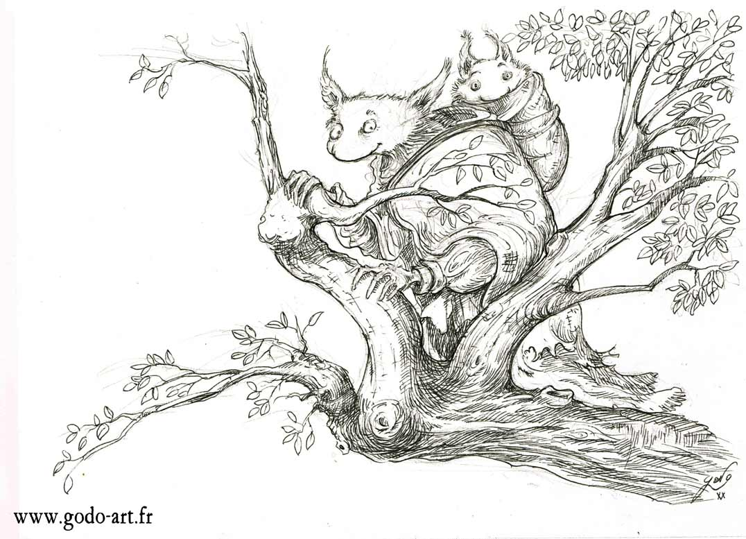 dessin d'une créature inconnue sur les branches d'un vieil arbre, illustration godo