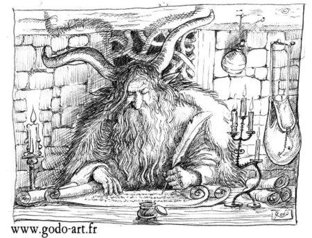 dessin d'un faune écrivant à la bougie sur un parchemin, ilustration godo