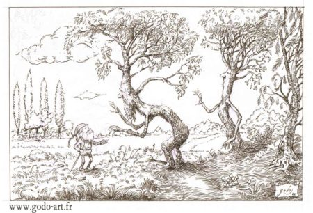 dessin de gnome et de ents, hommes arbres, illustration godo