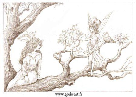 dessin de fées sur un arbre , illustration godo