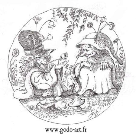 dessin de gnome et gnomides en forêt, illustration godo