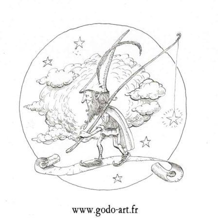 dessin de lutin dans les étoiles, illustration godo