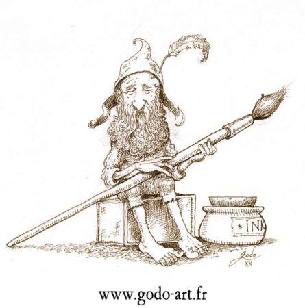 dessin d'un lutin avec son piceau et son encrier