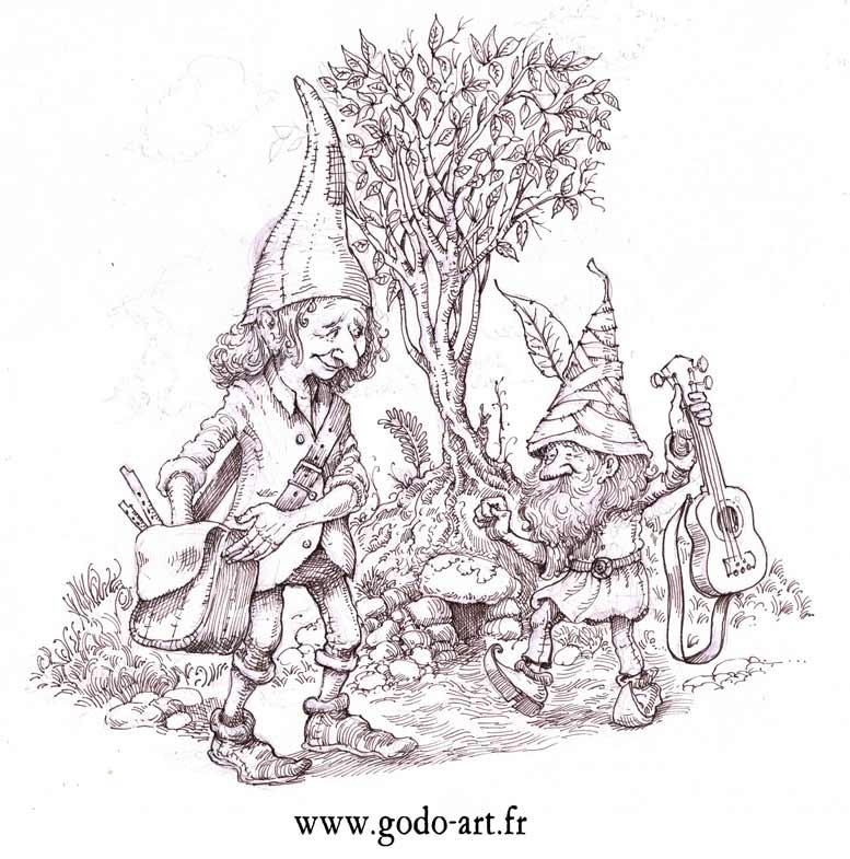 Dessin de lutins ménestrels, illustration godo