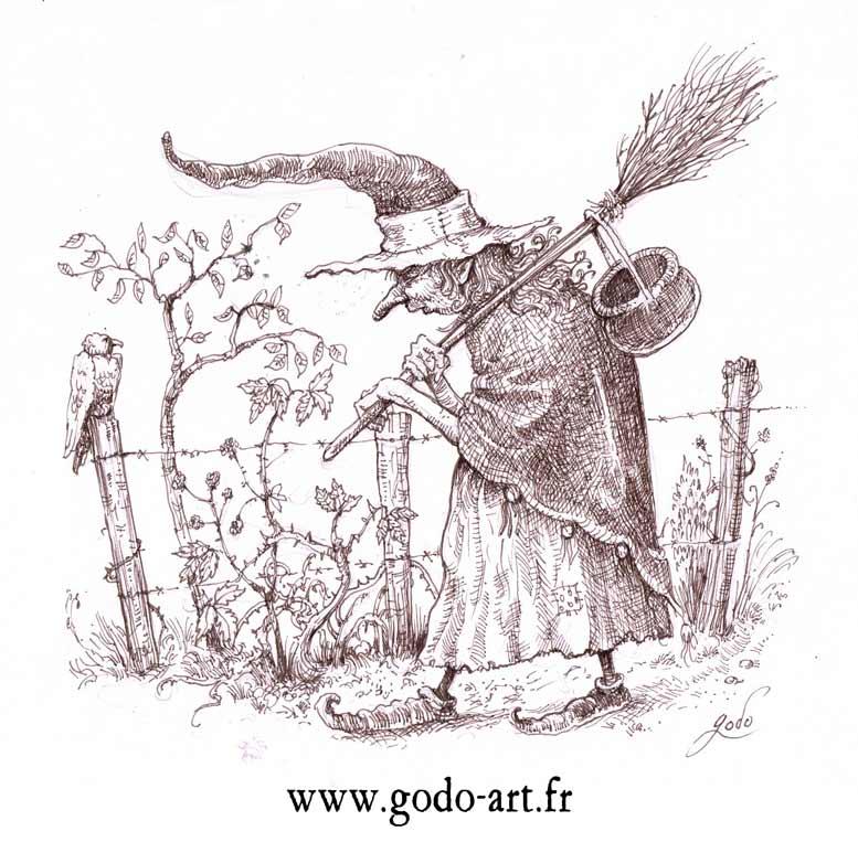Dessin de la sorcière choux blanc  avec son balais et son chaudron, illustration godo