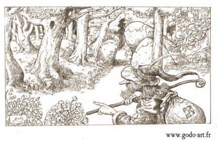 dessin forêt voyageur, illustration godo
