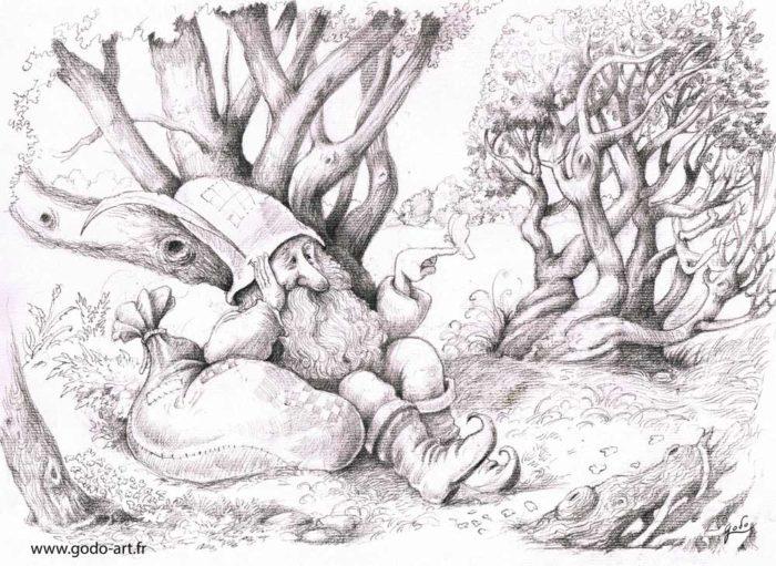 illustratiodessin de gnome à grande plume