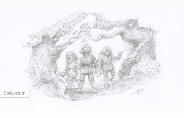 dessin original de trois hobbits