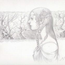 dame elfe dessin crayon