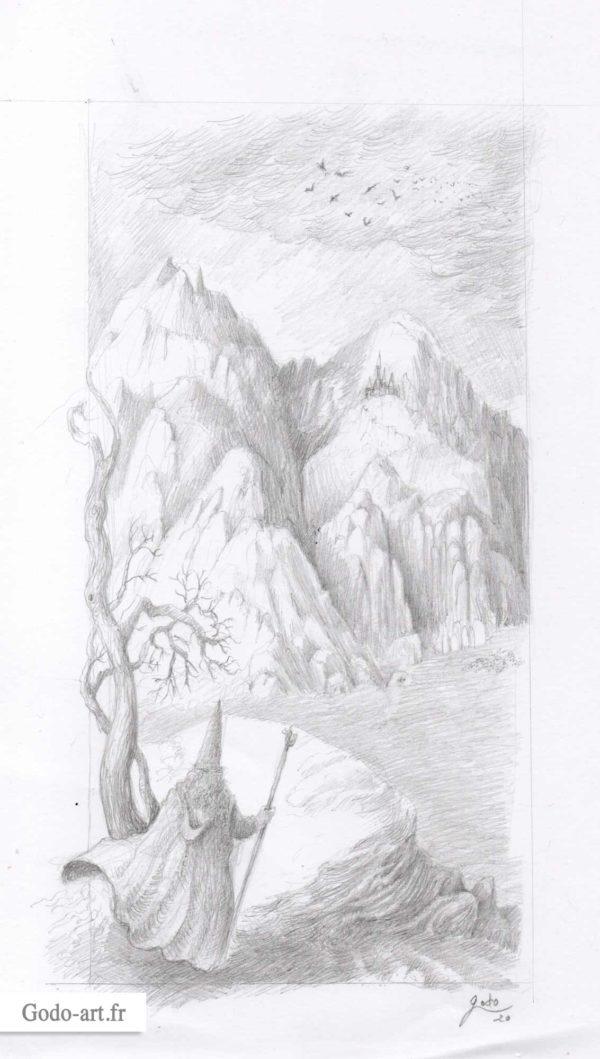 dessin gandalf montagne