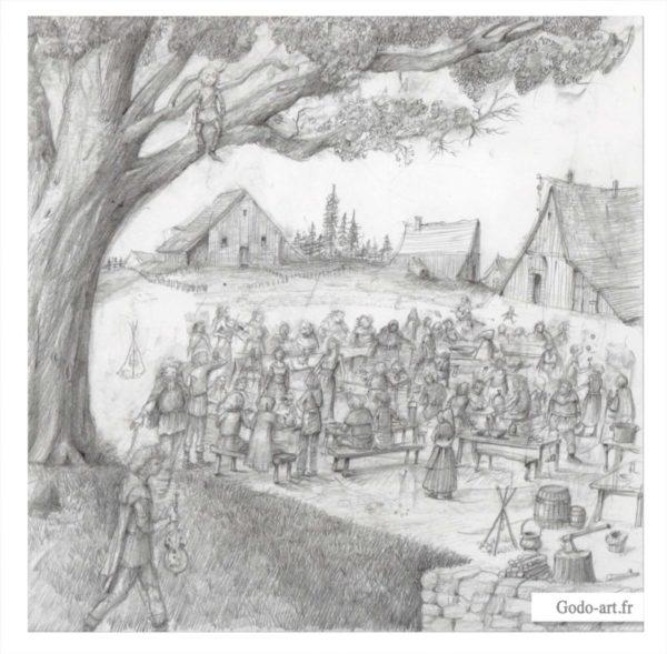 dessin du banquet final d'askeladden