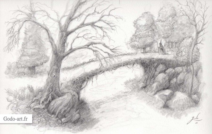 dessin de gandalf sur un vieux pont