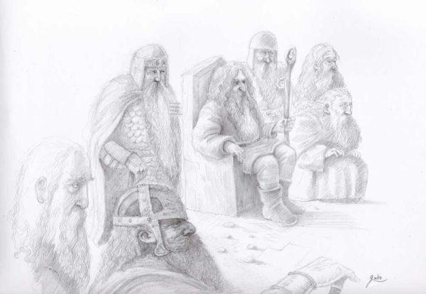 dessin de seigneurs nains recevant un visiteur