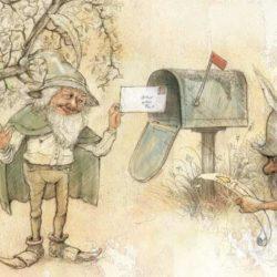 lutin et gnomes apportant du courrier dans la boite aux lettres