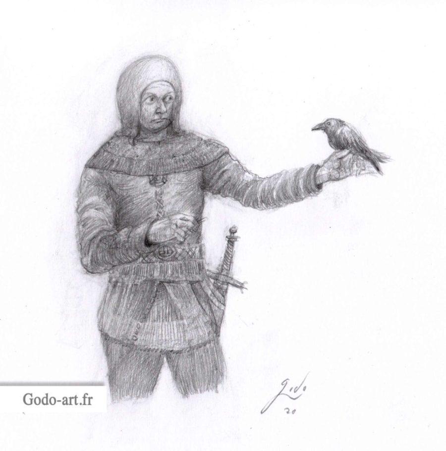 dessin d'un garde recevant un message par une corneille